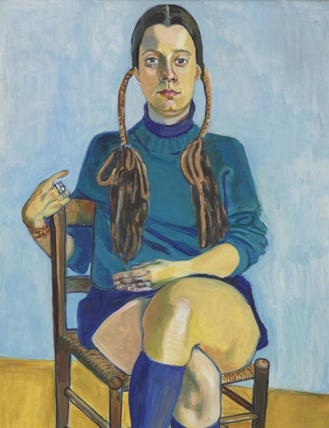 A portrait painting of a seated woman with pale skin, long brown braided pigtails, and a short blue long-sleeved dress and knee socks gazing at the viewer. Her right arm is slung over the back of the wooden chair.