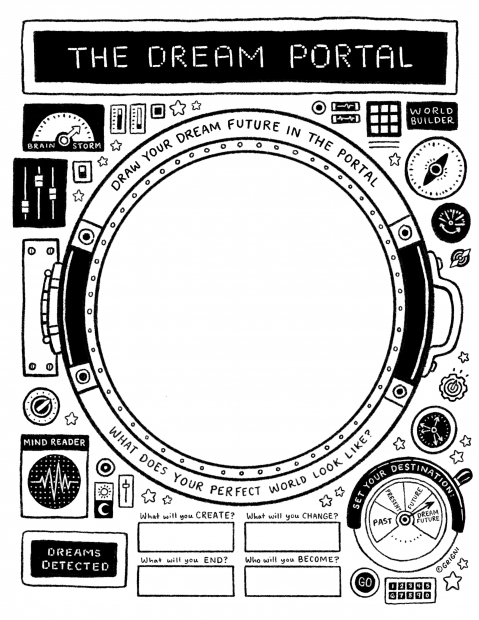 """A diagram-like illustration of a contraption with wheels, nozzles, and signal meters with the text """"THE DREAM PORTAL"""" at the top."""