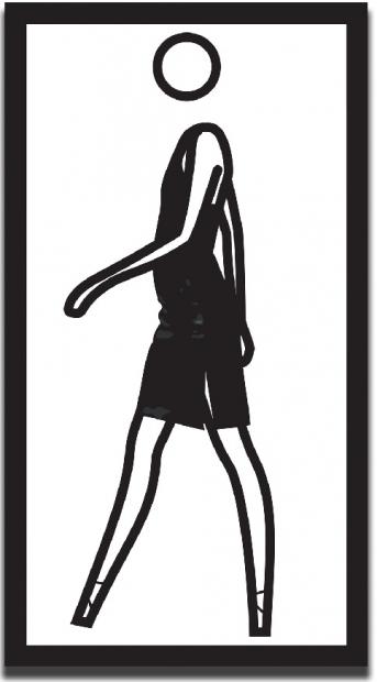 """Julian Opie's """"Suzanne Walking in Leather Skirt"""""""