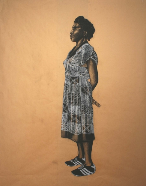Robert Pruitt, Woman with X-Patterned Dress (After Bill Traylor), 2007