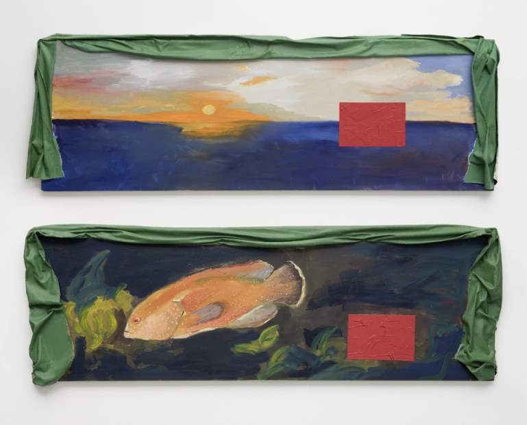 Two long horizontal oil paintings on wood hang one below the other. The top depicts a sunset over water, the bottom an underwater scene of an orange fish. Each scene is disrupted by a solid red rectangle, and each painting is draped with green fabric along the top edge.
