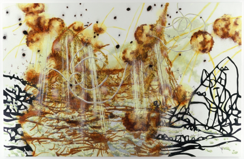 An oil painting on linen depicts an abstract landscape of dynamic brown lines and circles and a constellation of black abstracted lines and shapes on a white background.