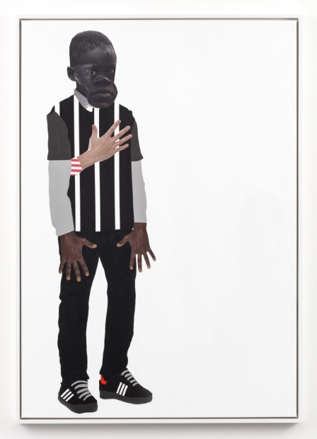 A mixed media collage depicts a Black boy in a striped shirt, dark pants, and sneakers standing to the left of a vertical white canvas. His hands hang in front of him with outstretched fingers and a light-skinned hand rests on his chest.