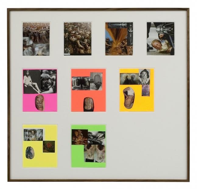 A large dark frame contains 9 separate collages, in three rows, some mounted on fluorescent paper.