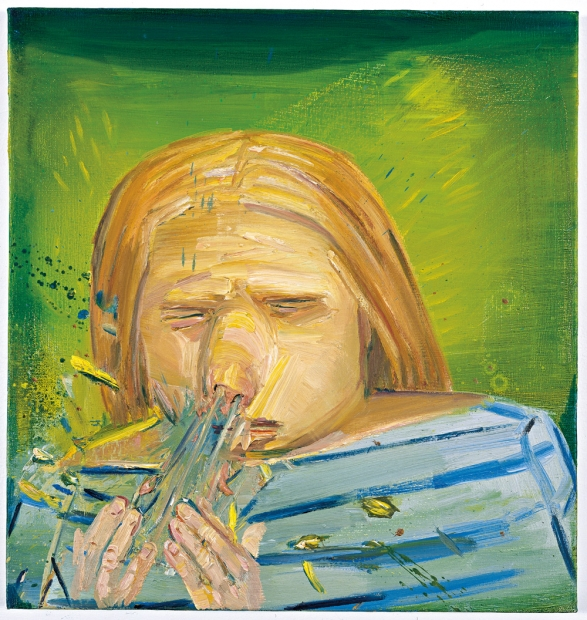 An oil painting of a young blonde figure against a lime green background sneezing into their open hands with visible expulsion and expressive brushstrokes illustrating the forcefulness of the sneeze.