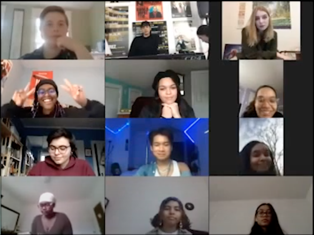A group of young people meeting virtually over Zoom
