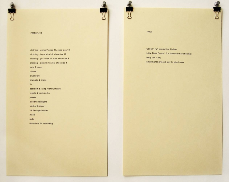 Kelly Sherman Wish Lists (detail), 2006