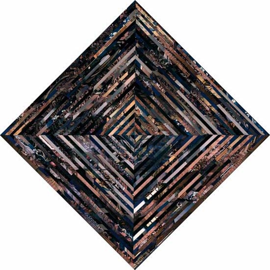 A color photograph of a square diamond composed of diagonally spliced colored strips against a white background.