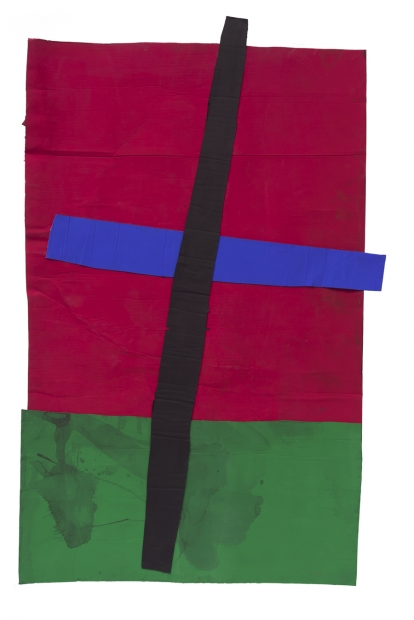 A red, green, black, and blue collage on a white background.