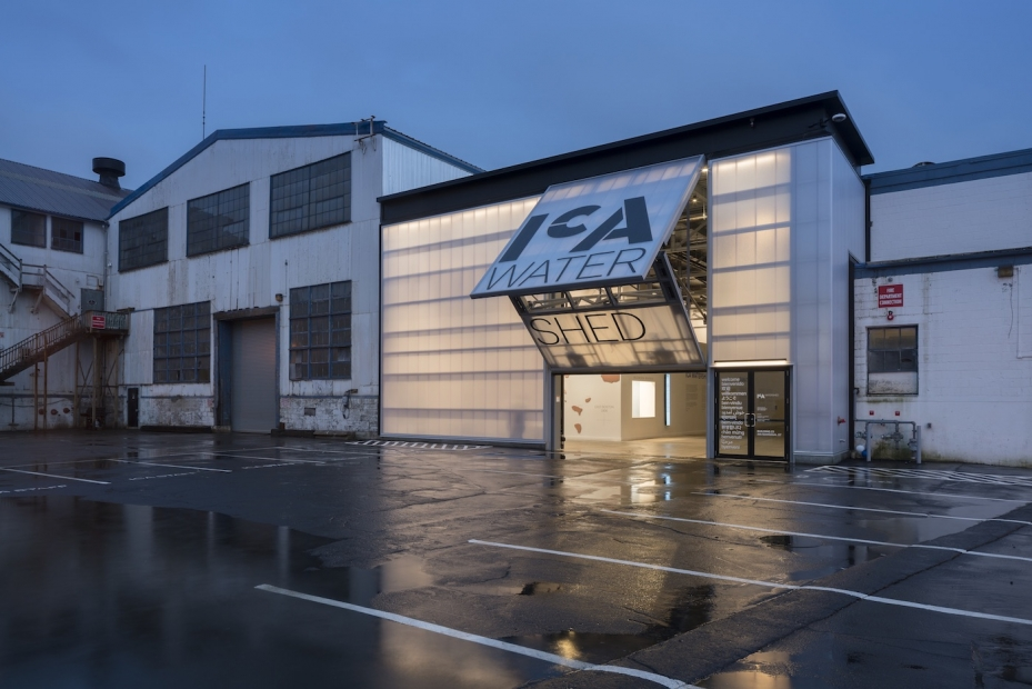the ICA Watershed light up with the garage door open