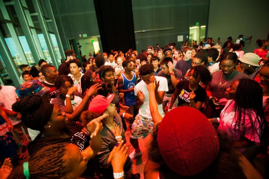 Teens dancing in theater