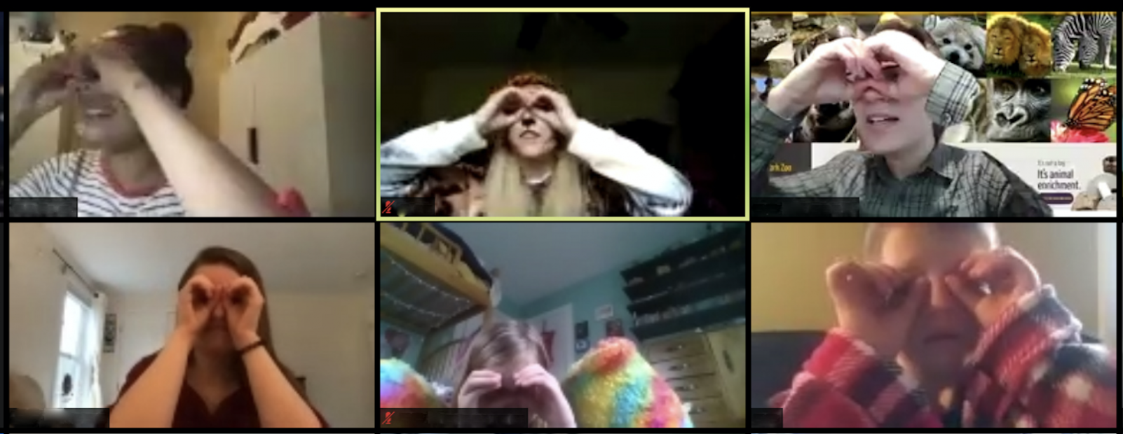 Screenshot of video call with 6 panels of children holding hands in front of eyes like binoculars.