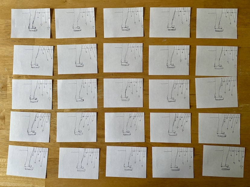 A row of drawings in preparation for an animated flip book.