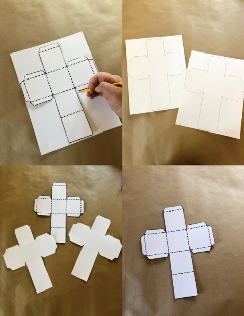 A grip of four images displaying step-by-step a die template that is traced over two sheets of paper and cut out.