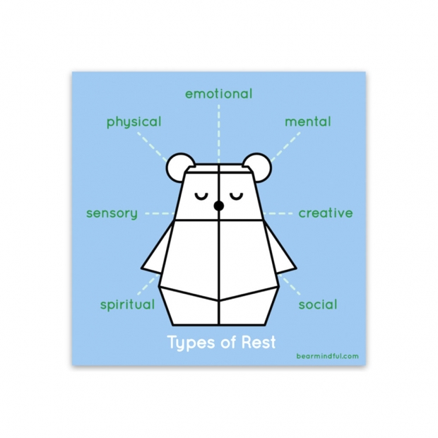 An infographic with a bear illustration in the center and mindfulness words
