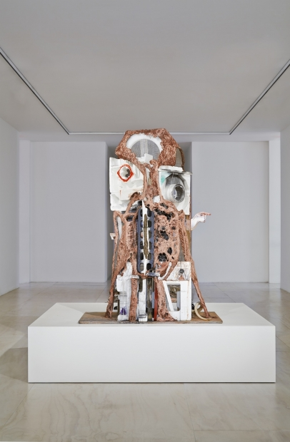 Huma Bhahba, Unnatural Histories, 2012. Wood, wire, clay, wire mesh, Styrofoam, acrylic paint, oil stick, burlap, metal, lucite, feathers, paper, laces, rubber, plastic, and horn, 86 × 80 × 198 inches.