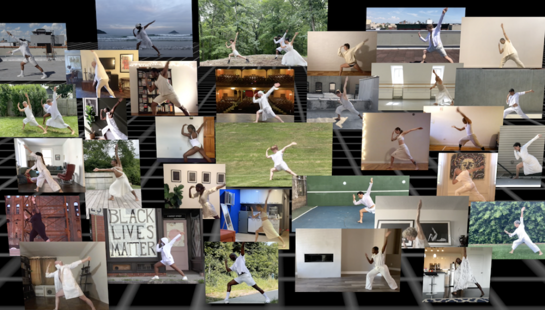 A computer screen with about 30 separate layers images showing individual dancers in white in the same lunge position.
