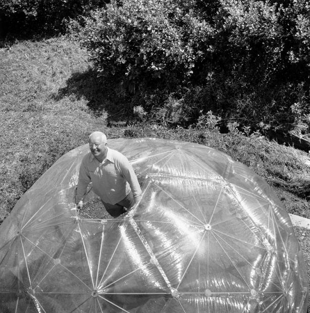 Hazel Larsen Archer, Buckminster Fuller inside His Geodesic Dome, 1949