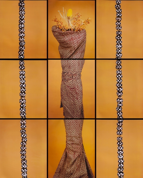 Together, nine photograph tiles show the silhouette of a body, wrapped in fabric and wearing a straw headdress.