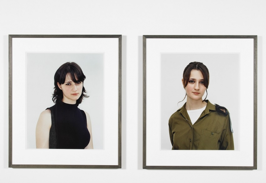 A diptych of color portrait photographs of a young woman with pale skin and shoulder-length dark hair, one in a black tank top, one in military uniform.