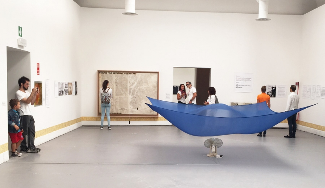 Installation view of works by Hans Haacke at the Central Pavilion, 56th Venice Biennale, 2015