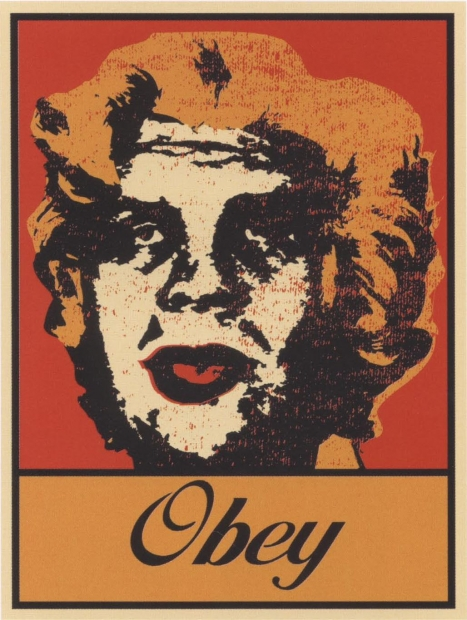 """A red, black, and orange screenprint of Marilyn Monroe's head with the face of André the Giant superimposed with """"OBEY"""" along the bottom edge."""