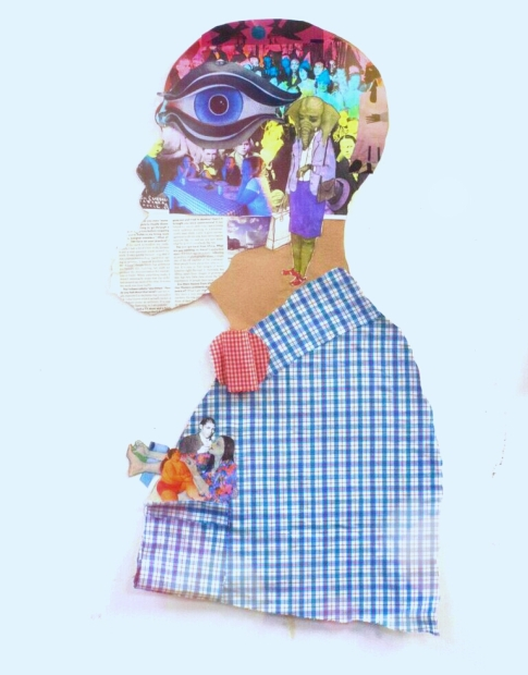 Cut-out silhouette of a figure in a blue plaid button-up shirt and red bowtie, and made from collage and mixed media.