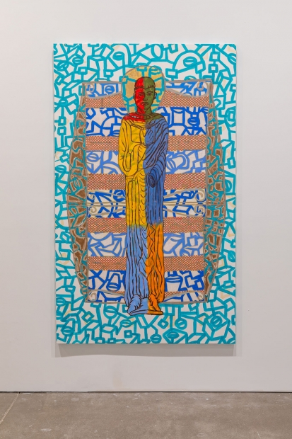 Painting of a multi-colored boy depicted stiffly as a saint, set against a mostly teal and white geometric pattern.