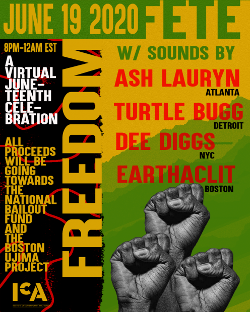 "A poster design with three firsts in the air, the title ""Freedom Fete"", and the names of performers: Ash Lauryn, turtle Bugg, Dee Diggs, EARTHACLIT."