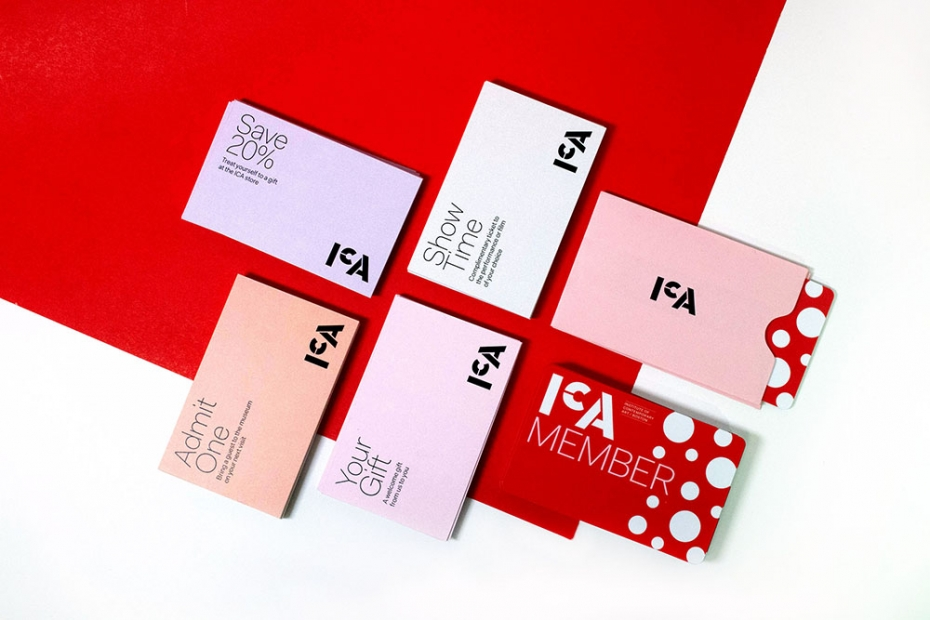 "A red ICA Member card with polka dots, four coupons reading ""save 20%"" ""Admit one"" ""your gift"" and ""show time"""