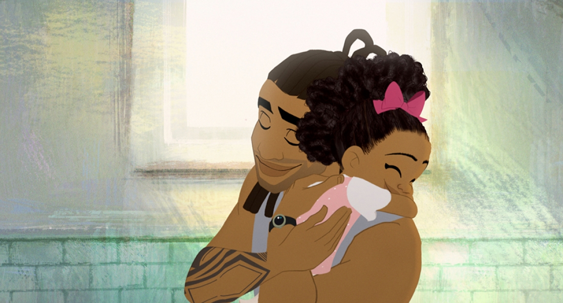 A animated still of a father and hugging his daughter.