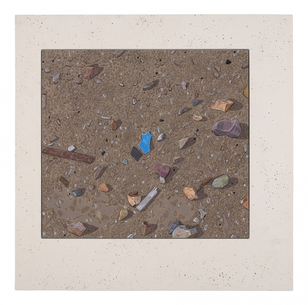 A painting by Josephine Halvorson of the ground with small rocks and trash.