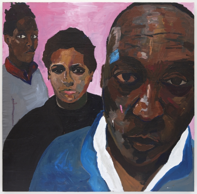 An acrylic painting shows a Black man and two younger Black figures standing one behind the other against a bright pink background and looking directly at the viewer.