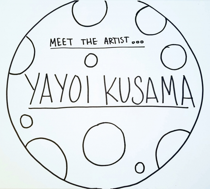 "A hand-drawn circle with ""Meet the Artist"" written at the center."