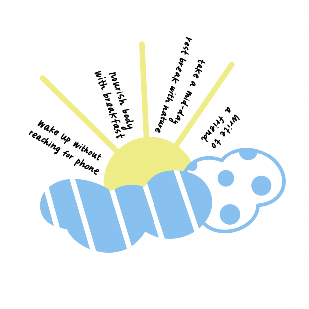 Illustration of sun and cloud with mindfulness tips