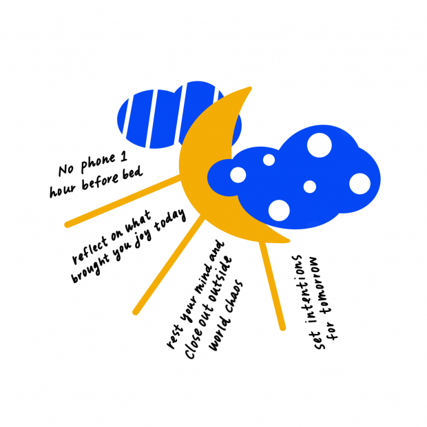 Illustration of shining moon and clouds with mindfulness tips