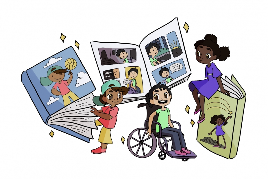 Illustrations of kids of various ethnic backgrounds and bodies with illustrated books with them in it.
