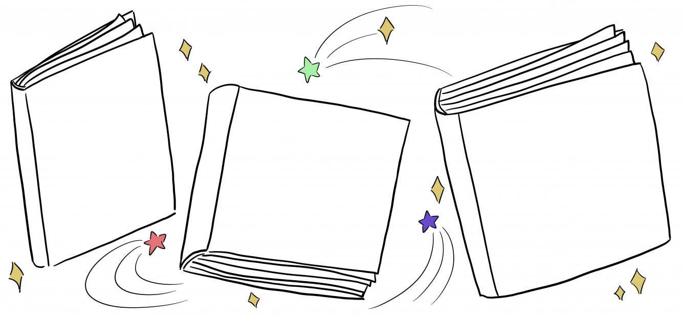 Line illustration with three books accented with swooshes and stars.
