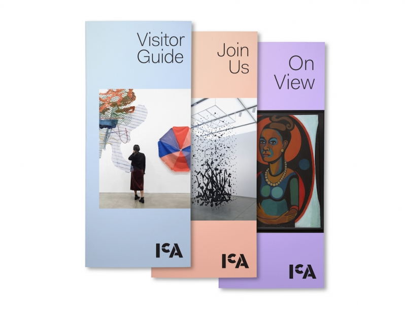 Three ICA brochures, in blue, peach,and lavender