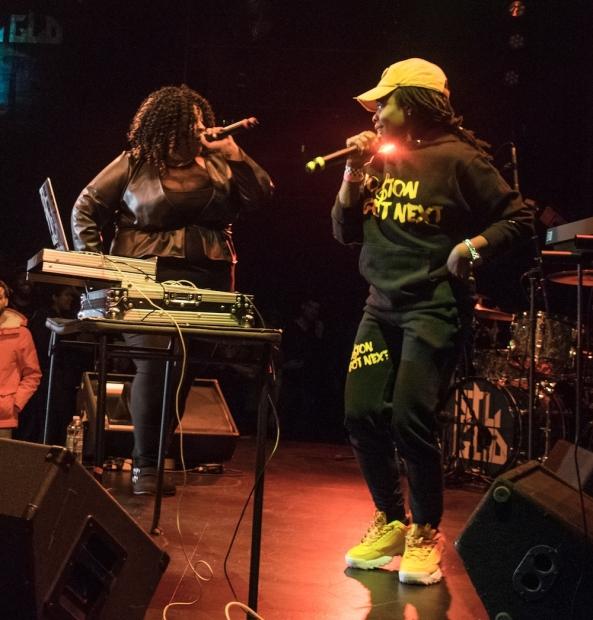 DJ WhySham and Brandie Blaze performing.