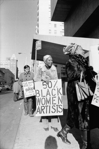 Jan van Raay, Faith Ringgold (right) and Michele Wallace (middle) at Art Workers Coalition Protest, Whitney Museum, 1971
