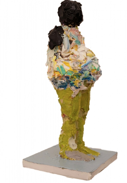 A standing human figure by Lavaughan Jenkins made from thickly applied paint.