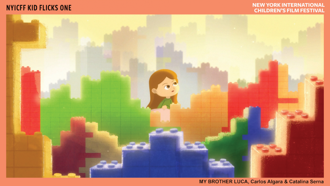 Cartoon image of a light-skinned child looking in wonder while sitting on a landscape made of building blocks.