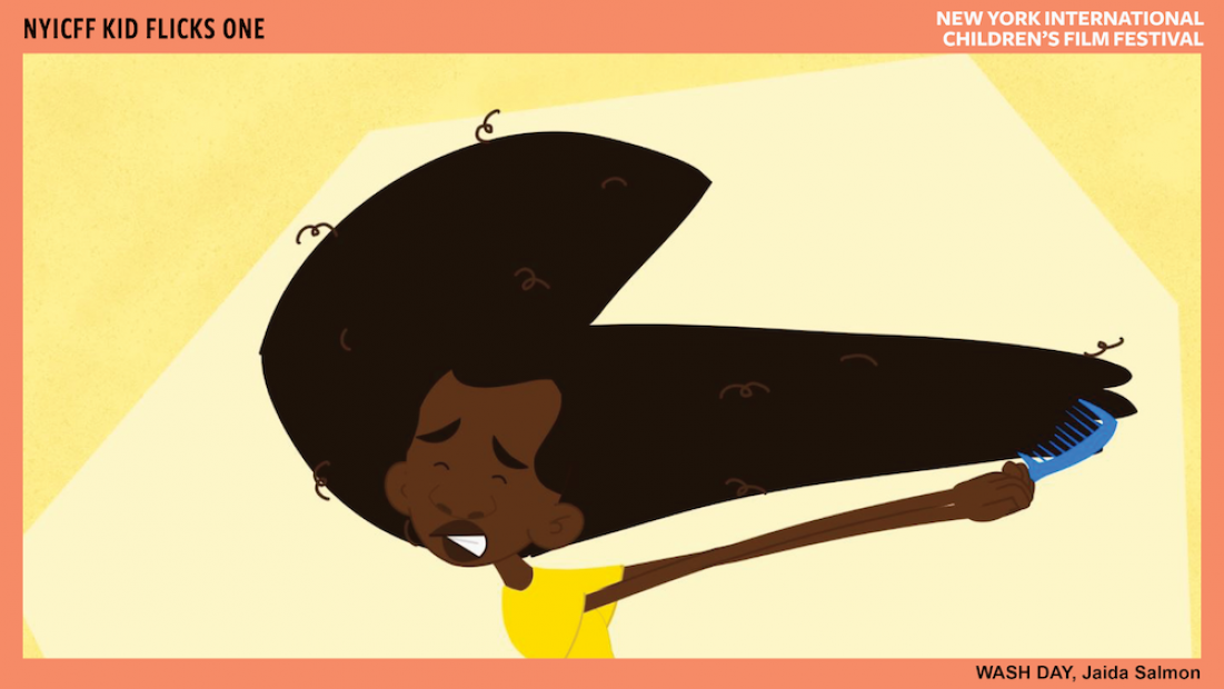 Cartoon image of a dark-skinned child brushing afro-textured hair holding brush with both hands, wearing a pained expression.