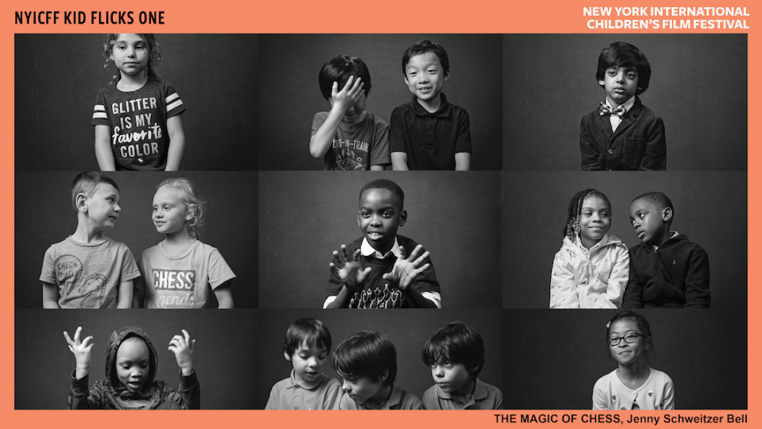 Black and white collage of children of diverse races. Some are alone, in groups of two, and groups of three.
