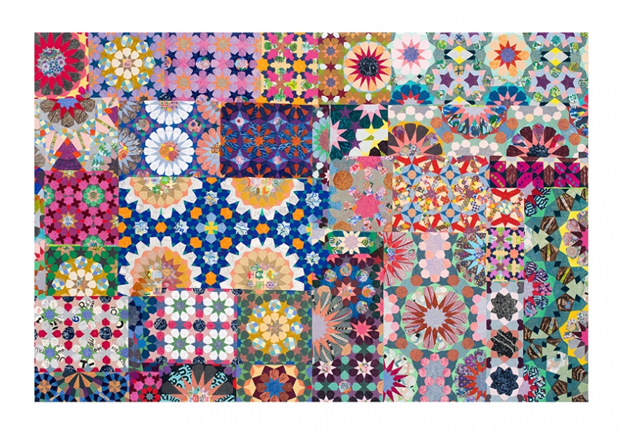 A large mixed- media canvas covered in multicolored floral patterns.
