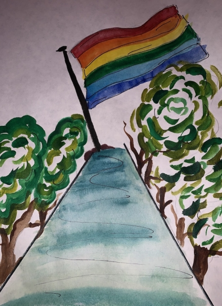 A watercolor painting of a rainbow flag at the end of tree-line road.