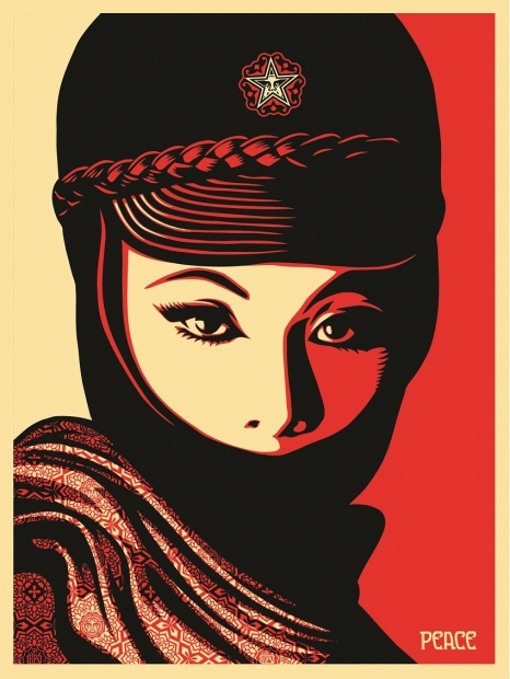 A red and black screenprint of a woman's face partly obscured by a mask and cap with a circular logo.