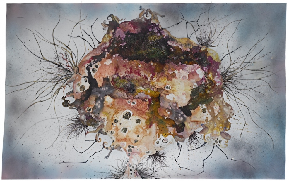 A collage of ink, acrylic, and mixed media on paper shows an organic mass or lump of various earth tones and textures with protruding antennae or hair-like growths.