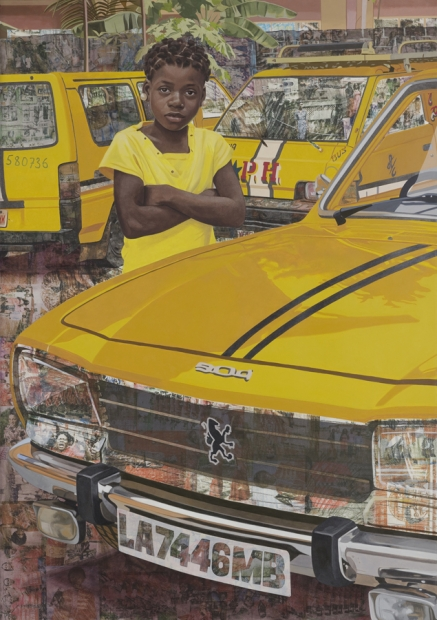 A painting of a medium-dark-skinned child dressed in yellow surrounded by three yellow cars.